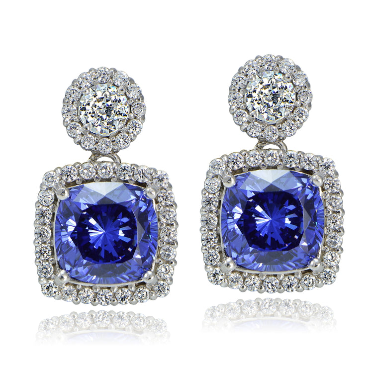 Platinum Plated Sterling Silver 100 Facets Blue Violet Cubic Zirconia Cushion-Cut Dangle Earrings