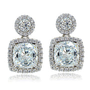 Platinum Plated Sterling Silver 100 Facets Cubic Zirconia Cushion-Cut Dangle Earrings