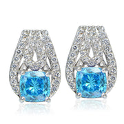 Platinum Plated Sterling Silver 100 Facets Light Blue Cubic Zirconia Cushion-Cut Earrings