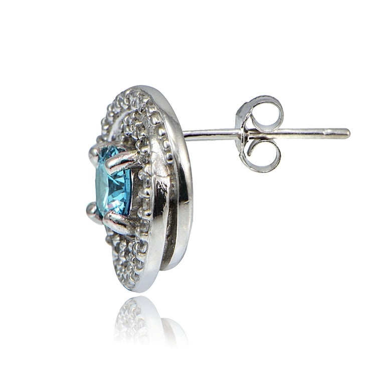 Platinum Plated Sterling Silver 100 Facets Light Blue Cubic Zirconia Love Knot Stud Earrings