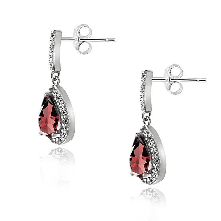 Sterling Silver 3ct TGW Garnet & White Topaz Teardrop Dangle Earrings