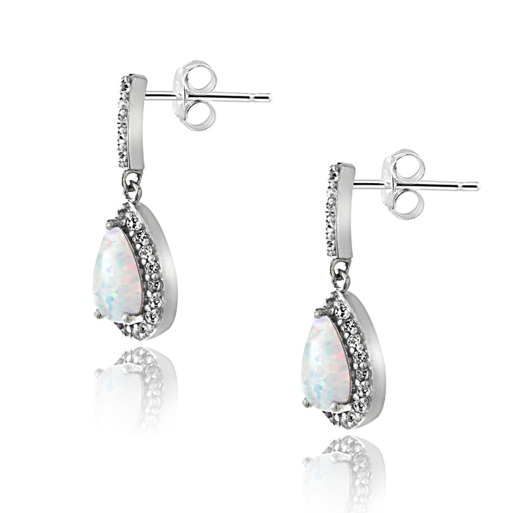Sterling Silver 1ct TGW Created Opal & White Topaz Teardrop Dangle Earrings