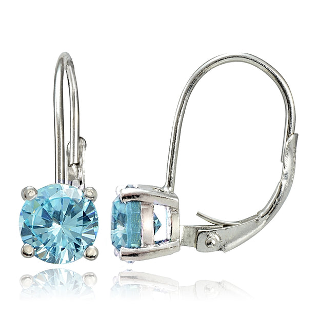 Sterling Silver 2ct TGW Blue Topaz 6mm Round Leverback Earrings