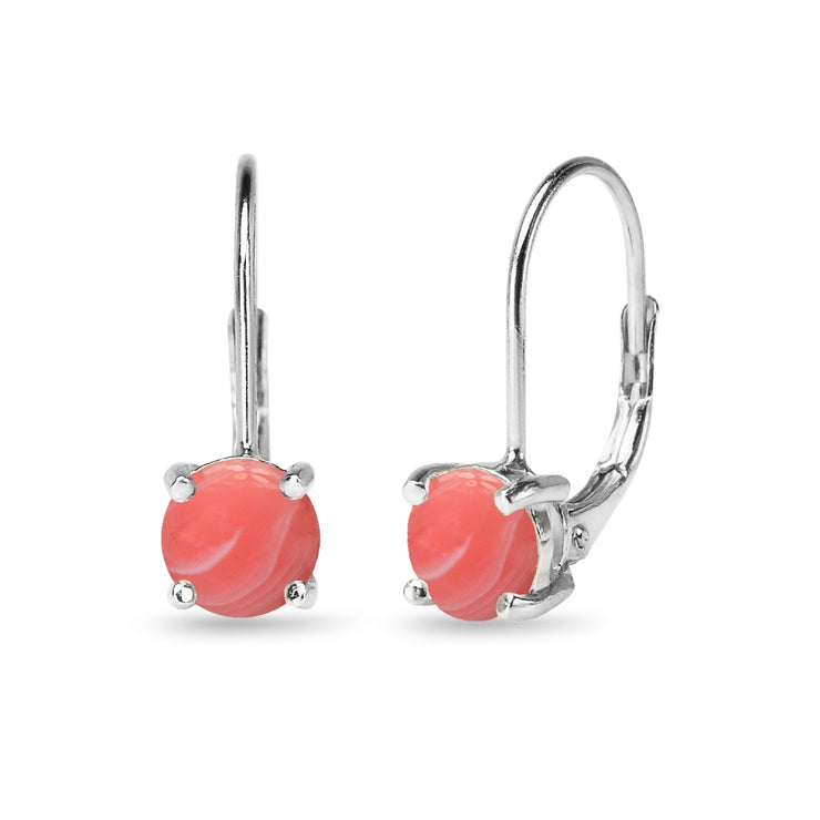 Sterling Silver Polished Created Coral 6mm Round-cut Leverback Earrings