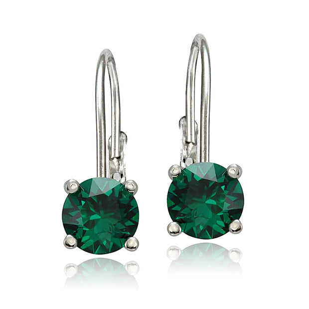 Sterling Silver 1.6ct Created Emerald Leverback Earrings