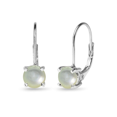 Sterling Silver Polished Simulated Mother of Pearl 6mm Round-cut Leverback Earrings
