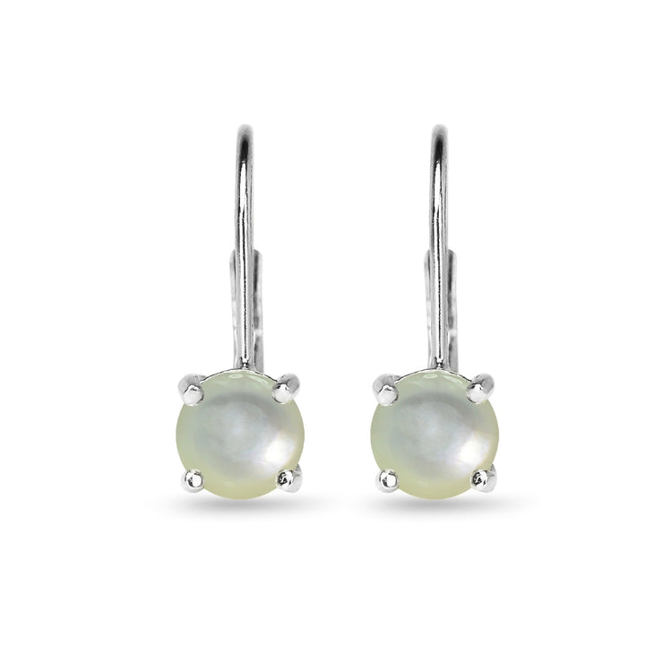 Sterling Silver Polished Created Mother of Pearl 6mm Round-cut Leverback Earrings