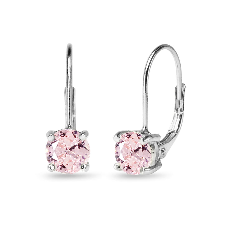 Sterling Silver Created Morganite 6mm Round Leverback Earrings