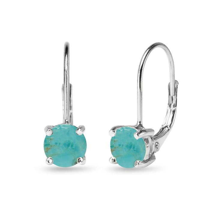 Sterling Silver Polished Created Turquoise 6mm Round-cut Leverback Earrings