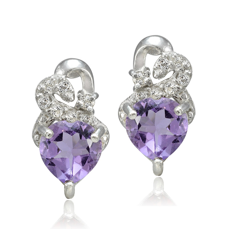 Sterling Silver 1.3ct Amethyst & White Topaz Double Heart Earrings