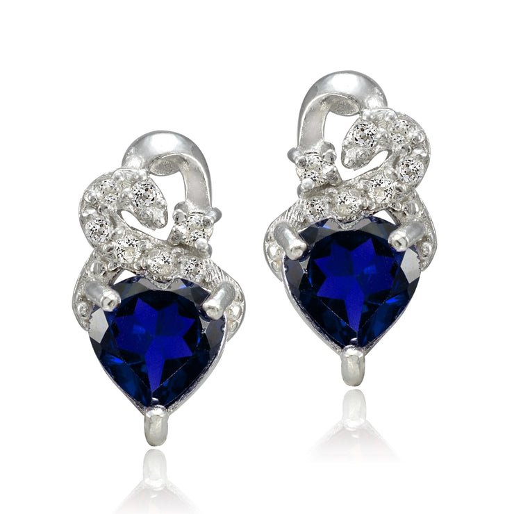 Sterling Silver 1.6ct Created Sapphire & White Topaz Double Heart Earrings