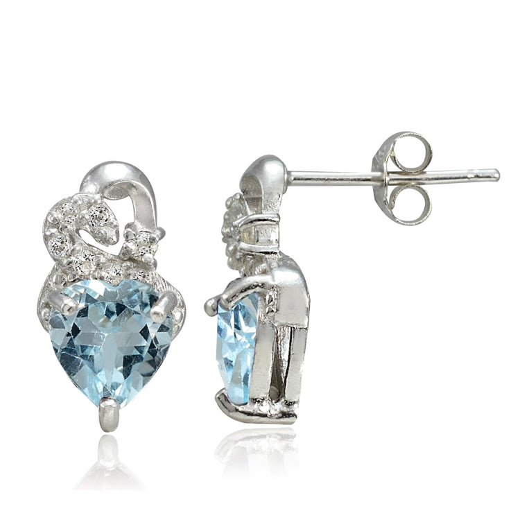 Sterling Silver 1.85ct Blue Topaz & White Topaz Double Heart Earrings