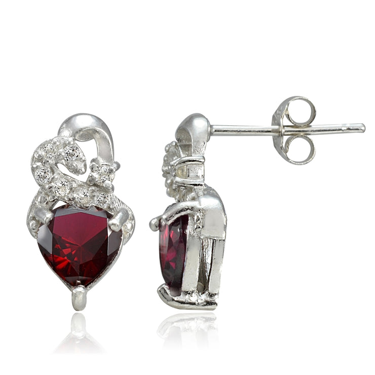 Sterling Silver 1.65ct Created Ruby & White Topaz Double Heart Earrings