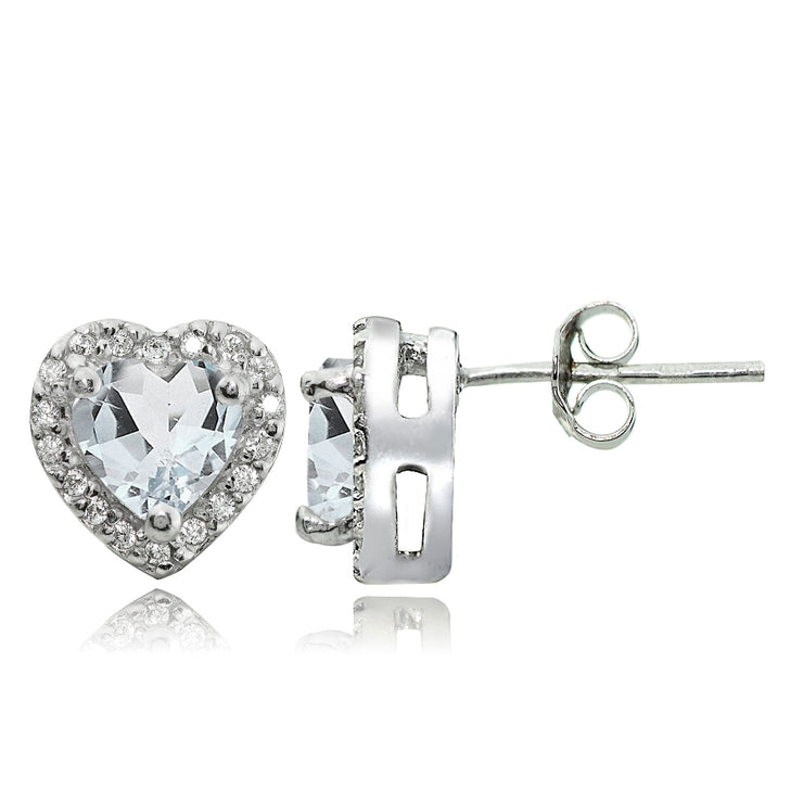 Sterling Silver 1.2ct Aquamarine and White Topaz Heart Stud Earrings