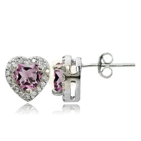 Sterling Silver Light Purple Cubic Zirconia and White Topaz Heart Stud Earrings