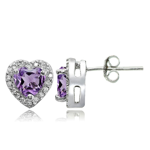 Sterling Silver 1.35ct Amethyst and White Topaz Heart Stud Earrings