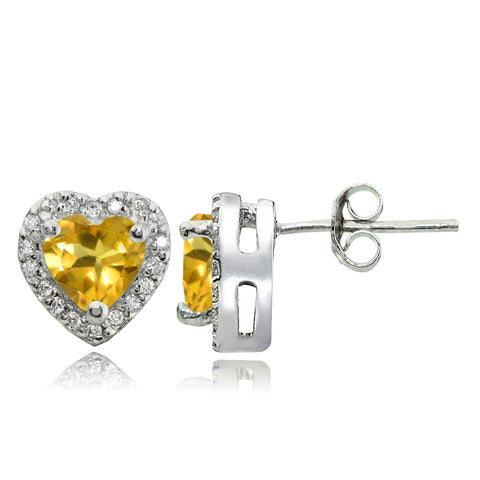 Sterling Silver 1.25ct Citrine and White Topaz Heart Stud Earrings