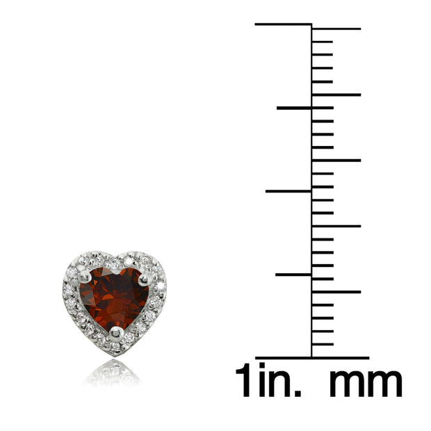 Sterling Silver 1.85ct Garnet and White Topaz Heart Stud Earrings