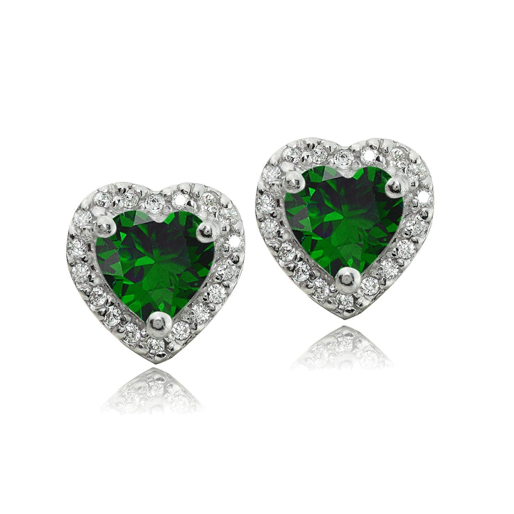 Sterling Silver 1.4ct Created Emerald and White Topaz Heart Stud Earrings