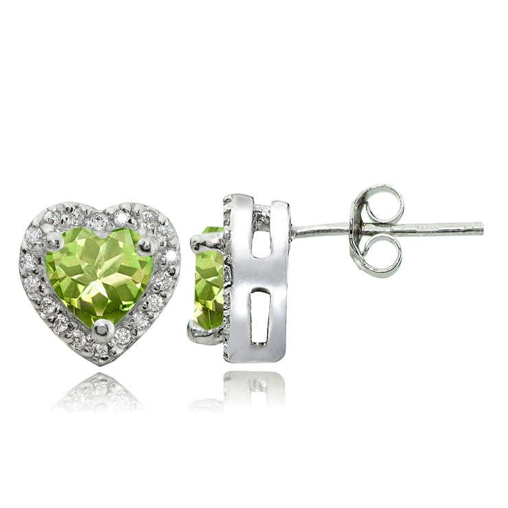 Sterling Silver 1.9ct Peridot and White Topaz Heart Stud Earrings