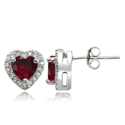 Sterling Silver 1.4ct Created Ruby and White Topaz Heart Stud Earrings
