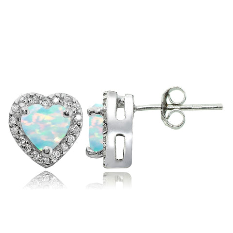 Sterling Silver .75ct Created White Opal and White Topaz Heart Stud Earrings