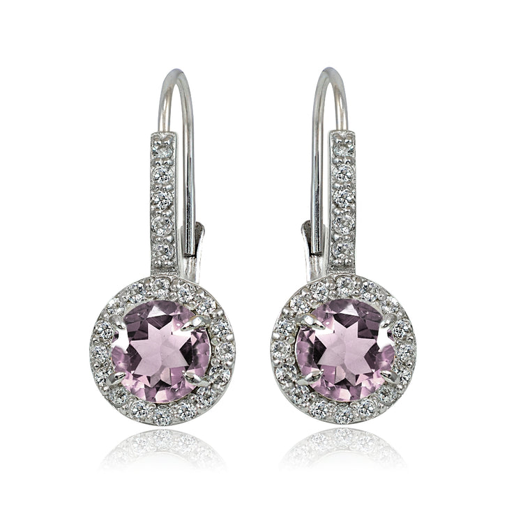 Sterling Siver Created Alexandrite and White Topaz Round Leverback Earrings