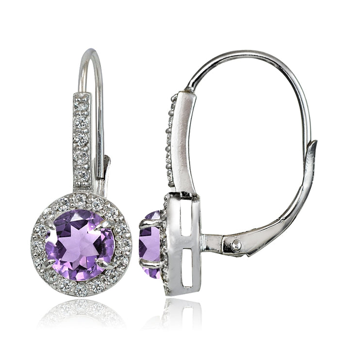 Sterling Silver Amethyst and White Topaz Round Leverback Earrings