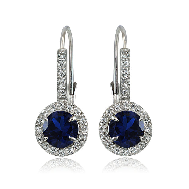 Sterling Silver Created Blue Sapphire and White Topaz Round Leverback Earrings