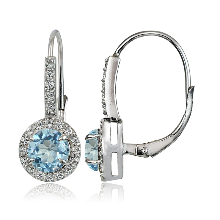 Sterling Silver Blue and White Topaz Round Leverback Earrings