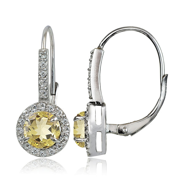 Sterling Silver Citrine and White Topaz Round Leverback Earrings