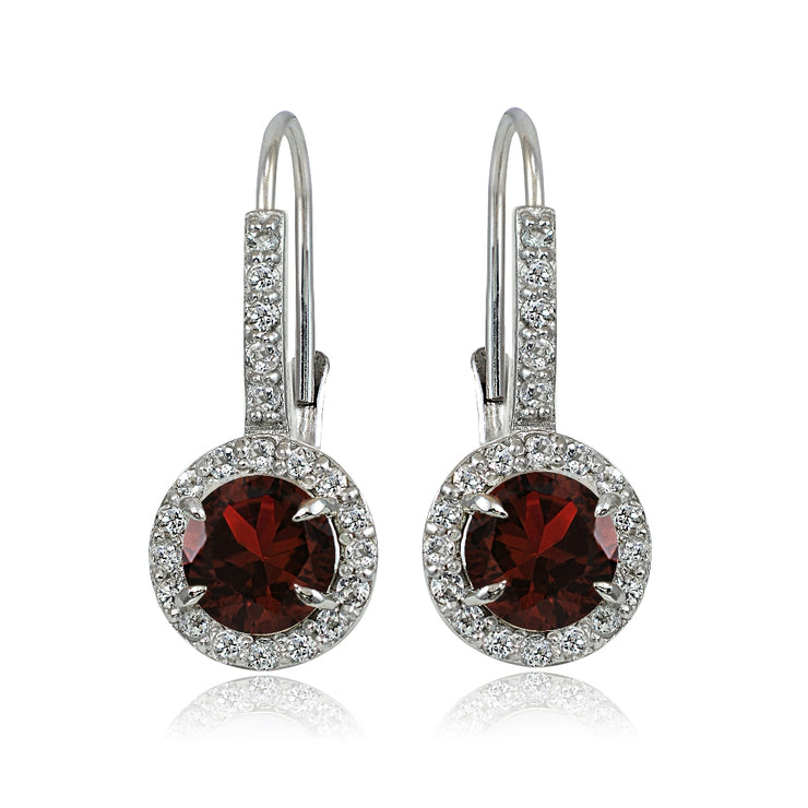 Sterling Silver Garnet and White Topaz Round Leverback Earrings