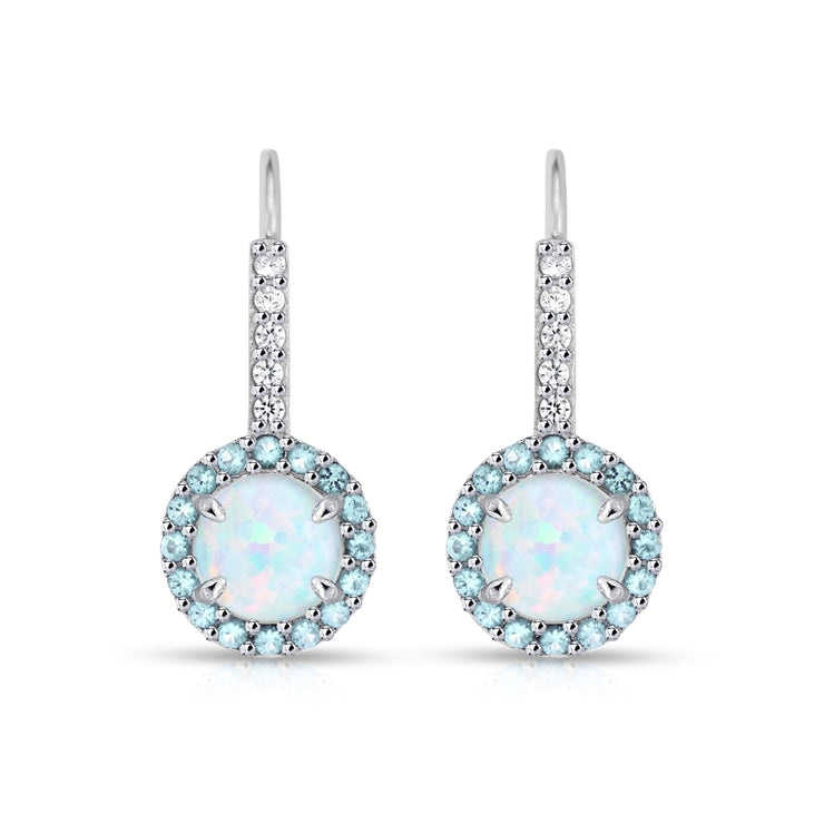 Sterling Silver Created White Opal & Blue Topaz Round  Halo Leverback Earrings