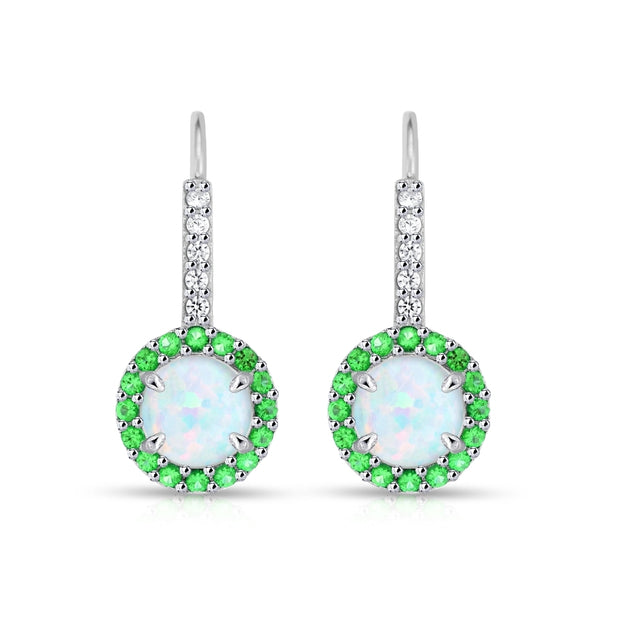 Sterling Silver Created White Opal & Emerald Round  Halo Leverback Earrings