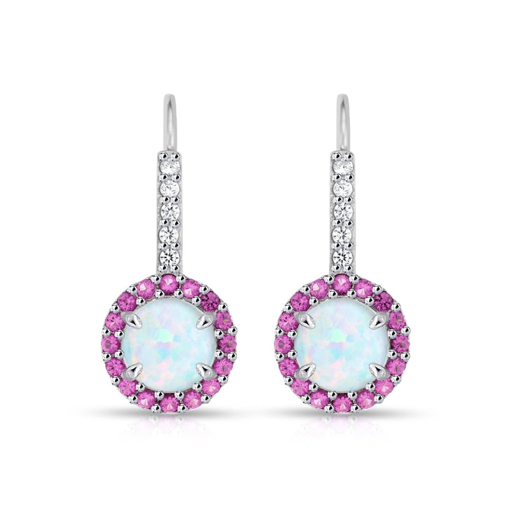 Sterling Silver Created White Opal & Ruby Round  Halo Leverback Earrings
