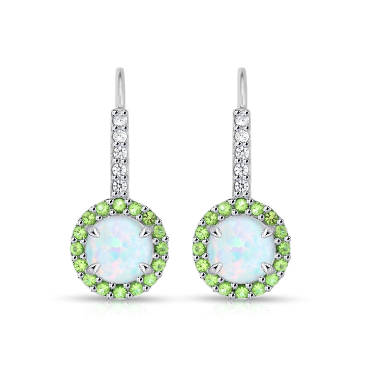Sterling Silver Created White Opal & Peridot Round  Halo Leverback Earrings