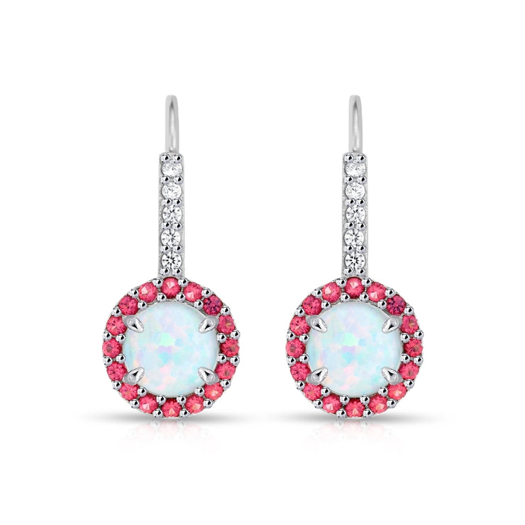 Sterling Silver Created White Opal & Garnet Round  Halo Leverback Earrings