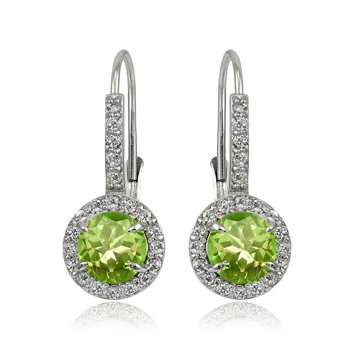 Sterling Silver Peridot and White Topaz Round Leverback Earrings