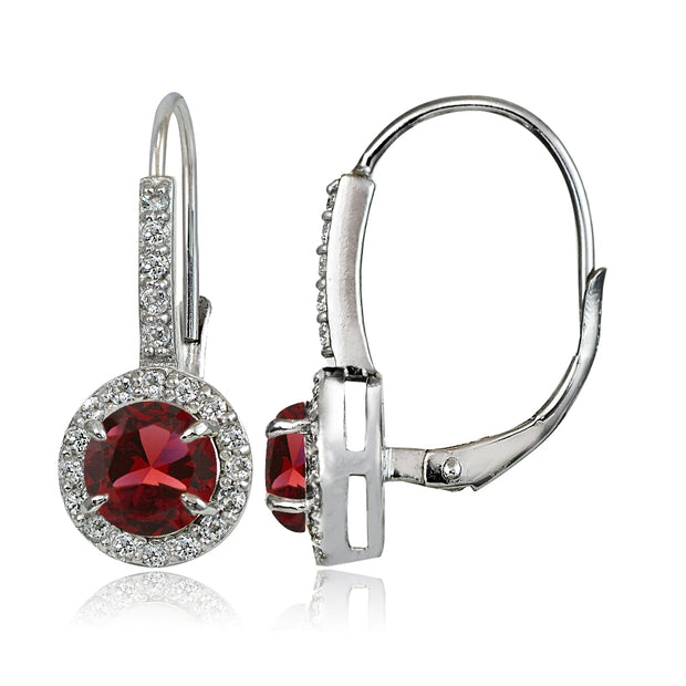 Sterling Silver Created Ruby and White Topaz Round Leverback Earrings