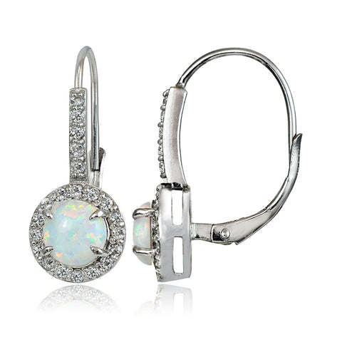 Sterling Silver Created White Opal and White Topaz Round Leverback Earrings