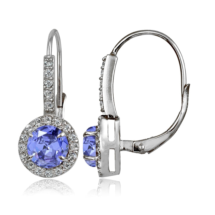 Sterling Silver Tanzanite and White Topaz Round Leverback Earrings