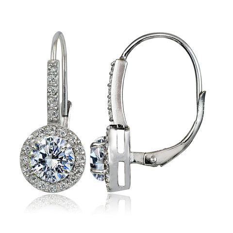 Sterling Silver Cubic Zirconia Round Leverback Earrings