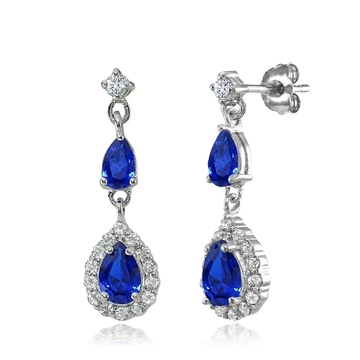 Sterling Silver Created Blue Sapphire and White Topaz Fashion Teardrop Dangle Earrings