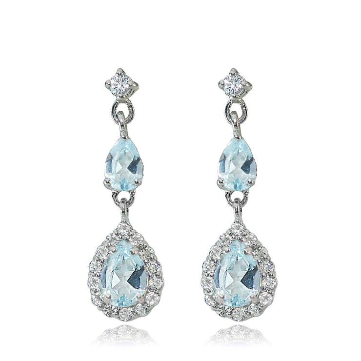 Sterling Silver Blue and White Topaz Fashion Teardrop Dangle Earrings