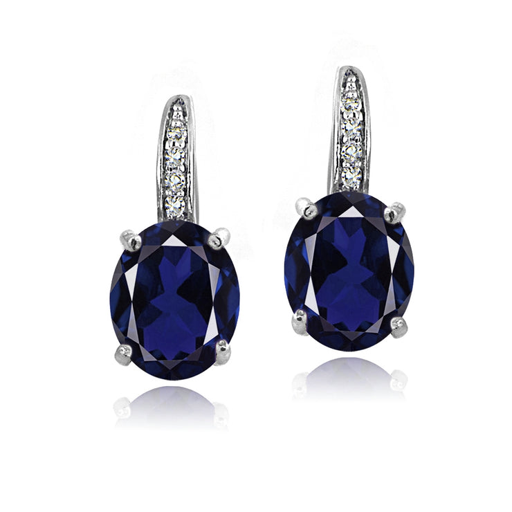 Sterling Silver 5ct Created Blue Sapphire & White Topaz Oval Leverback Earrings