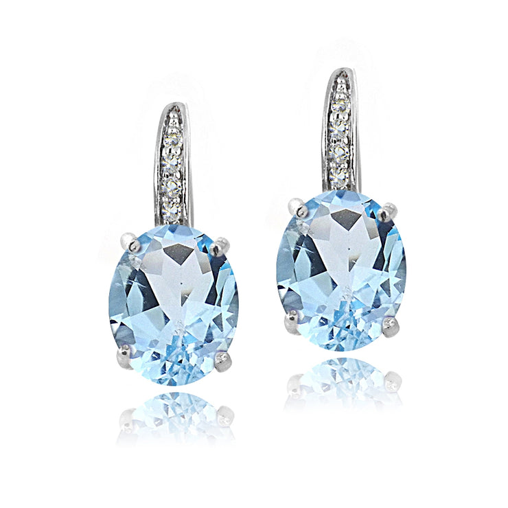 Sterling Silver 5.4ct Blue Topaz & White Topaz Oval Leverback Earrings