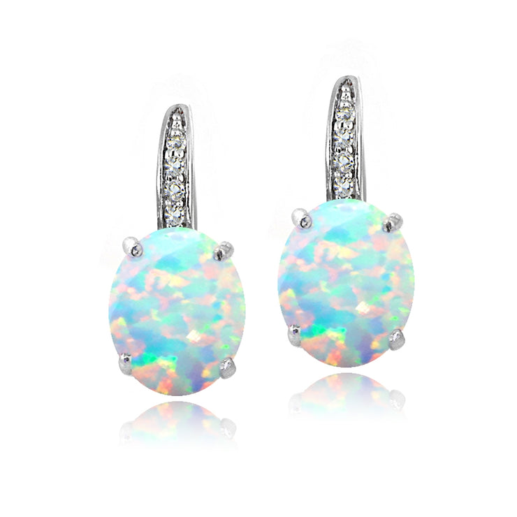 Sterling Silver Created White Opal & White Topaz Oval Leverback Earrings