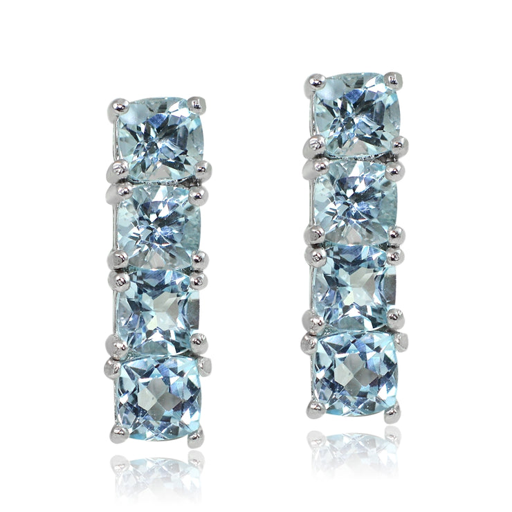 Sterling Silver Blue Topaz Bar Drop Earrings