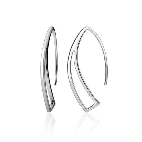 Sterling Silver Geometric Polished Hook Earrings