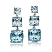 Sterling Silver 6.8ct Blue Topaz Three Stone Cushion-Cut Drop Earrings